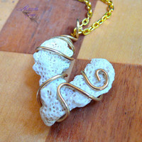 Coral Heart Necklace - wire wrapped Hawaiian jewelry for beach brides by Mermaid Tears Hawaii