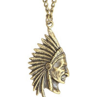 Indian Head Chief Necklace Native American Warrior Pendant Fashion Jewelry NM05