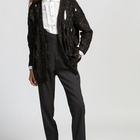 Speckled Long Sleeve Cut-Out Cardigan