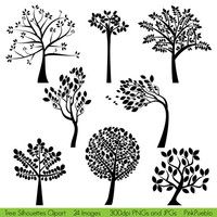 Tree Silhouettes Clipart Clip Art  Commercial and by PinkPueblo
