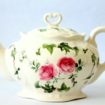 Vintage Crowne Oakes Designs Rose Pattern Teapot Made In England