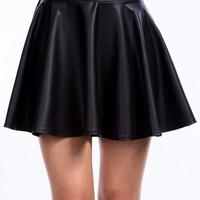 So Slick Faux Leather Skater Skirt GoJane.com