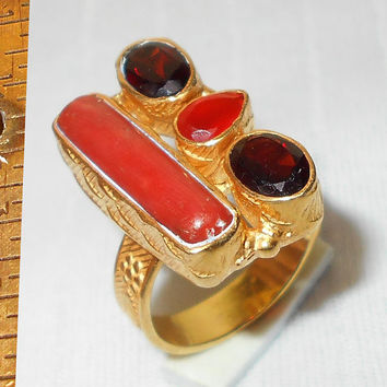 Red Coral Ring - Garnet Ring - Carnelian Ring - Gold Vermeil Jewelry - Semi-Precious Stone Ring - Statement Ring - unique Handmade Ring