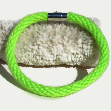 Cozy Collection-- Neon yellow kumihimo bracelet with magnetic clasp