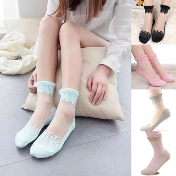 New Womens Ankle Socks Elastic Ultrathin Transparent Beautiful Crystal Lace Thin Sock High Quality