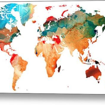 Map Of The World 7 -colorful Abstract Art Metal Print