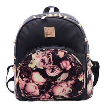 Vintage Rose Print Studded Backpack