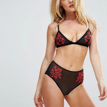 Wolf & Whistle Floral Embroidery Triangle Bra & Brief Lingerie Set at asos.com