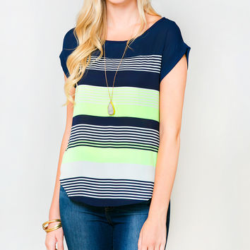 Sawyer Cove Green & Navy Stripe Top - Women | zulily