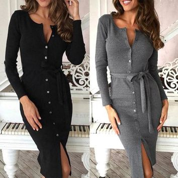 Women Lady Long Sleeve Buttons Down Pencil Dress Solid Color Lace up Slim Single Breasted Bandage Midi Dress