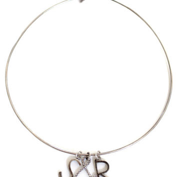 Customizable Initial Collar Necklace, antiqued rustic sterling personalized initial ampersand and charm wire necklace choker mix and match