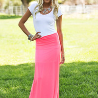 Neon Coral Lights Maxi Skirt