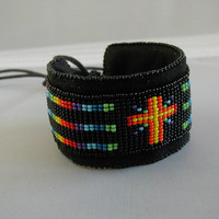 Colorful Cross Loom Beaded Flexible Cuff Bracelet       ~Cross Cuff Bracelet~Boho Cuff Bracelet~Rainbow Cuff Bracelet~Custom Cuff Bracelet