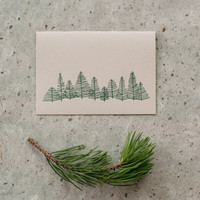 Letterpress Trees Card