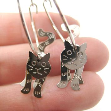 Adorable 3D Kitty Cat Shaped Dangle Hoop Earrings in Silver | Animal Jewelry