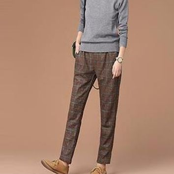 Loose Plaid Casual Trousers