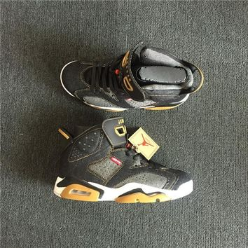 Levis X Air Jordan 6 Black Denim Sport Shoes | Best Deal Online