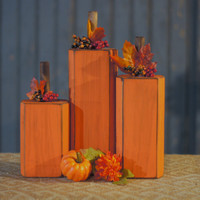 3 Berry Wood Pumpkins -  Rustic Fall decor - Primitive Thanksgiving Decor