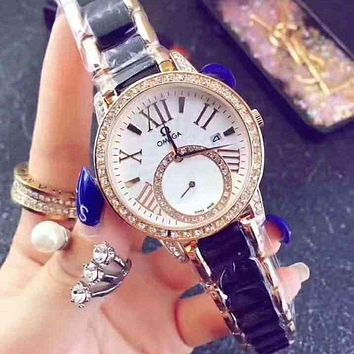 Omega Woman Men Fashion Quartz Movement Wristwatch Watch