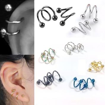 PINKSEE 1Pc New Unisex Surgical Stainless Steel Spiral Earrings Clip Ear Stud Cuff Wrap Hoop Body Piercing Jewelry Accessories