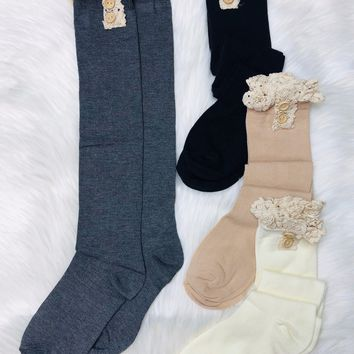 Lace & Button Boot Socks