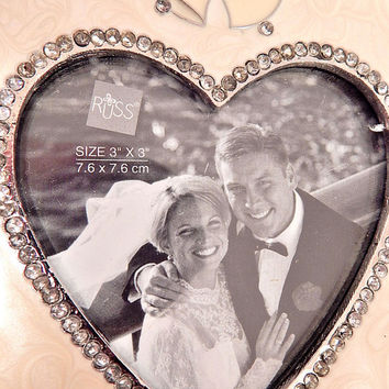 Wedding Picture Frame Rhinestone Heart Wedding Bells Silver Metal Vintage Russ Home Decor Bride Wedding Shower Engagement Anniverary Gift
