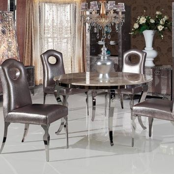 stainless steel marble Dinning table with dining room set with 4 chairs, 2 leather wine cabinet, TV unit, leather small cabinet