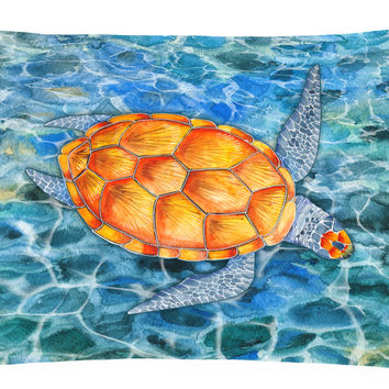 Sea Turtle Canvas Fabric Decorative Pillow BB5364PW1216