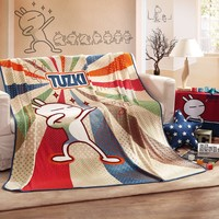 "LOVO Tuzki and Fun Coral Fleeced Plush Blanket 59""x79"""