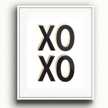 Faux Gold - XOXO Print - Hugs and Kisses Print -Typographic Home Decor - Office Decor - Trendy Wall Art - Gallery Wall - Gold Prints