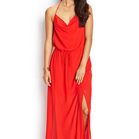 LOVE 21 Chiffon Halter Maxi Dress Red