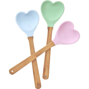 Rice DK Bamboo and Silicone Heart Spatula