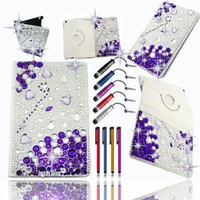 BLING!! PURPLE Jersey Bling with 3D Hearts, Gems, Crystals & Rhinestone Leather Folio with 360 Rotating Case Cover Protector for Ipad 2, 3 or 4 Bundle