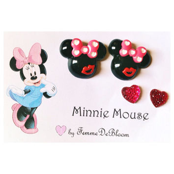 "Handmade ""Love and Kiss"" Minnie Mouse earrings and heart studs disney jewelry"