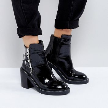 ASOS ELABY Leather Patent Heeled Ankle Boots at asos.com