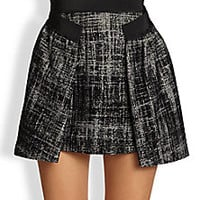 MILLY - Gathered Herringbone Skirt - Saks Fifth Avenue Mobile