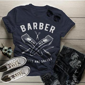 Women's Barber T-Shirt Haircuts & Shaves Vintage Tee Razor Clippers Shirt For Hipster Barbers