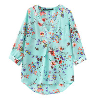 2017 high quality Summer style Kimono top Plus size S-XXL cotton Printed Three Quater sleeve Casual Women shirts tops Free Ship