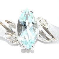 2 Carat Aquamarine Marquise Diamond Ring .925 Sterling Silver Rhodium Finish White Gold Quality