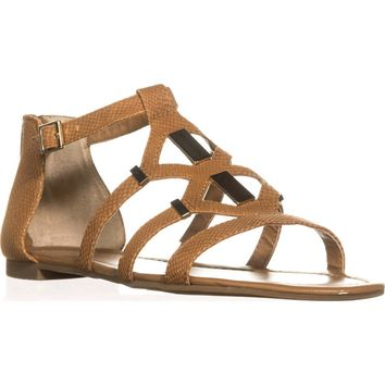 B35 Rodeo Strappy Flat Sandals, Cognac, 11 US