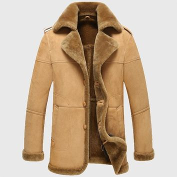 Winter men camel natural genuine leather lambskin shearling real lambswool casual coat button cuff