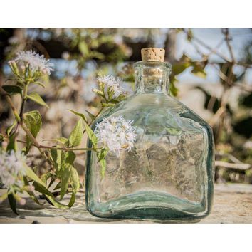 Xaquixe Glass Square Bottle - Small - Clear Green