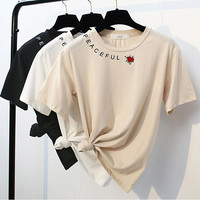"""PEACEFUL"" letters rose embroidery women top loose tee T-shirt blouse"