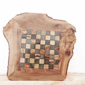 Fathers Day Gift / Rustic Natural Edges Olive Wood Chess Board, Grand Dad gift