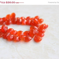 51% OFF Carnelian Gemstone Briolette AAA Rust Dark Orange Faceted Pear Tear Drop 12mm 18 beads