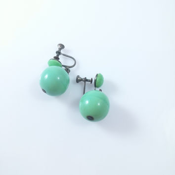 Art Deco Earrings - Vintage Turquoise Glass Bead Drop Screw Back Earrings
