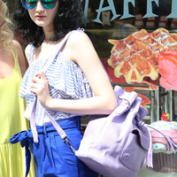 Leather Bucket Bag Lilac