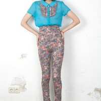 jazzkatze Blue Peter Pan Collar Blouse - Products -         koshka