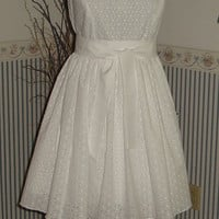 RACHEL is an adorable vintage style short wedding dress with cotton eyelet fabric, great for a garden or vintage wedding, stylish, feminine