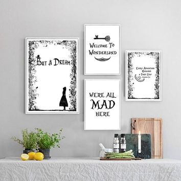 Alice in Wonderland Poster Canvas Art Prints Wall Picture , Girl's Room Wall Art We're all mad here Cheshire Cat Canvas Prints